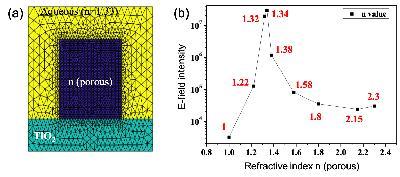 (a) Modèle de RWG à base de matériau polymère poreux. (b) Résultat préliminaire de simulation de l'indice de réfraction optimal du matériau polymère poreux